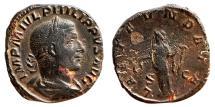 Ancient Coins - PHILIP I the Arab Æ Sestertius. VF+. LAET FVNDATA. (15,1 g - 26 mm)