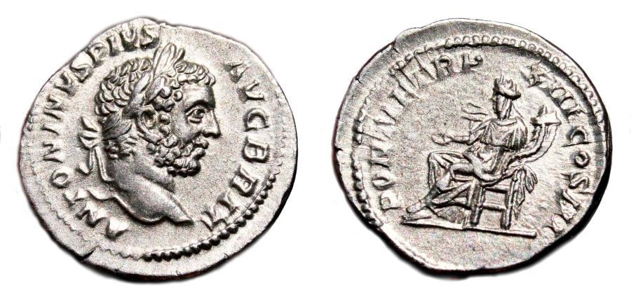 Ancient Coins - CARACALLA AR Denarius. EF. Concordia - PONTIF TR P XIII COS III. Variant BRIT in obverse.