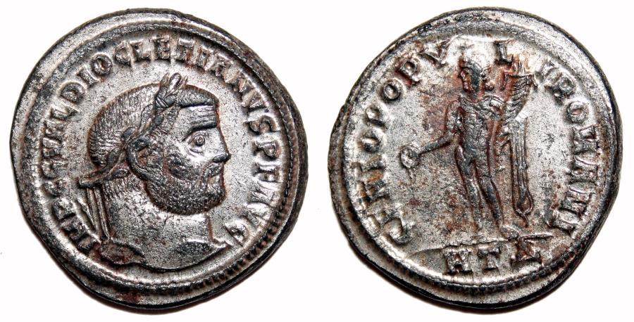 Ancient Coins - DIOCLETIAN Bi Follis. EF/EF-. SILVERED. Heraclea mint. GENIO POPVLI ROMANI. Superb!