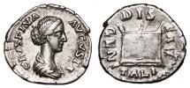 Ancient Coins - CRISPINA AR Denarius. VF+. Altar - DIS GENITALIBVS. Scarce and Nice!