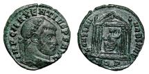 Ancient Coins - MAXENTIUS Bi Follis. VF+/VF. Rome mint. Rome within Hexastyle temple.