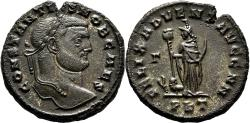 Ancient Coins - CONSTANTIUS CHLORUS AE Follis. aEF. Carthage mint. FELIX ADVENT AVGG NN.