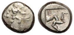 Ancient Coins - ASPENDOS (Pamphylia) AR Stater. VF/EF-. Warrior - Triskeles.