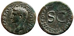 Ancient Coins - AUGUSTUS AE As. EF-. IMP XX TR P XXXIIII. Large SC. Bust to Left.