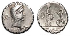 Ancient Coins - L. Roscius Fabatus AR Denarius. EF-/EF. 64 BC. Juno Sospita - Girl and Snake.