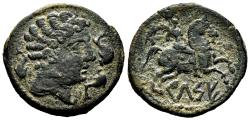Ancient Coins - CELTIC AE As. EF-/VF+. Horseman with palm to right.