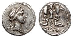 Ancient Coins - JULIUS CAESAR AR Denarius. VF+/EF-. The conquest of Gaul.
