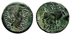 Ancient Coins - AUGUSTUS AE As. EF/VF+. Bull to right - L. BAEBIO P. AESTIO Duoviri.