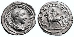 Ancient Coins - GORDIAN III AR Denarius. EF/EF-. Emperor riding horse.