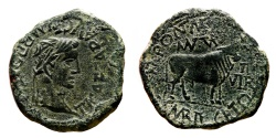 Ancient Coins - TIBERIUS AE As. VF+. M. Pont. Marsus and C. Mari. Vegetus Duoviri. Bull in reverse.