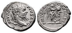 Ancient Coins - SEPTIMIUS SEVERUS AR Denarius. EF-. Victory - Shield.