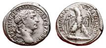 Ancient Coins - TRAJAN AR Tetradrachm. EF-/VF+. Tyre mint. COS V, Year 15. Eagle, Club and Palm.