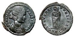 Ancient Coins - FAUSTA AE3 (Centenonial). VF+/EF-. Treveri mint. SPES REI PVBLICAE.