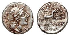 Ancient Coins - M. Papirius Carbo AR Denarius. EF-/VF+. 121 BC. Quadriga.