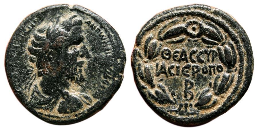 Ancient Coins - HIERAPOLIS (Cyrrhestica) AE24. Antoninus Pius. VF+/EF. Legend in Wreath.