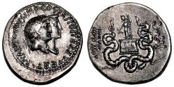 Ancient Coins - MARCUS ANTONIUS and OCTAVIA AR Cistophoric Tetradrachm. EF/EF-. Ephesus mint. VERY RARE!