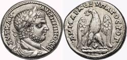 Ancient Coins - CARACALLA AR Tetradrachm. EF/EF-. Tyre mint. DRAPED BUST. Eagle, club and murex. SCARCE and EXCELLENT!