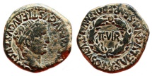 Ancient Coins - TIBERIUS AE As. EF. Wreath in reverse - IIVIR. EXCELLENT and SCARCE.