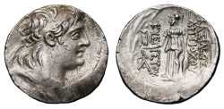 Ancient Coins - ANTIOCHUS VII AR Tetradrachm. VF+. Athena with Nike in reverse.
