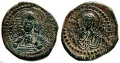 Ancient Coins - Anonymous (attributed to Romanus IV) Follis. EF-. Constantinople. Christ and Virgin Mary.