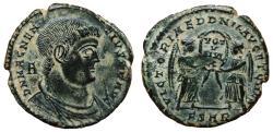 Ancient Coins - MAGNENTIUS AE2 (Maiorina). EF. Arelate mint. VICTORIAE DD NN AVG ET CAES. Superb coin!