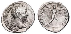 Ancient Coins - SEPTIMIUS SEVERUS AR Denarius. VF+. Jupiter - IOVI PROPVGNATORI. Uncommon Reverse.