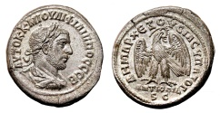Ancient Coins - PHILIP I the Arab AR Tetradrachm. EF+. Antioch mint. Laureated bust. Eagle to right.
