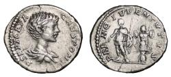 Ancient Coins - GETA AR Denarius. VF+. PRINC IVVENTVTIS - Geta and Trophy.