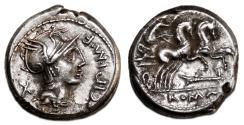 Ancient Coins - M. Cipius M.f. AR Denarius. EF. Victory in biga.