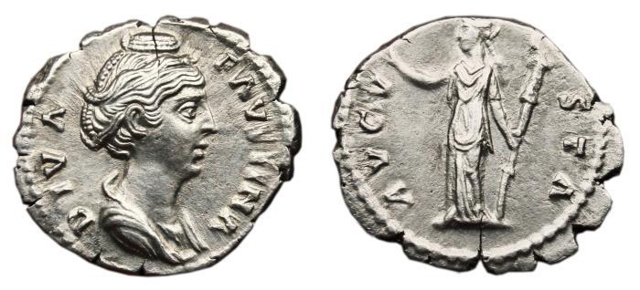 Ancient Coins - FAUSTINA I (Senior) AR Denarius. EF-. Aeternitas - AVGVSTA. Superb Portrait!
