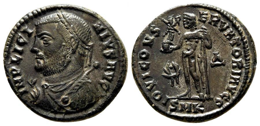 Ancient Coins - LICINIUS I AE Follis (reduced). EF. Cyzicus mint. IOVI CONSERVATORI AVGG