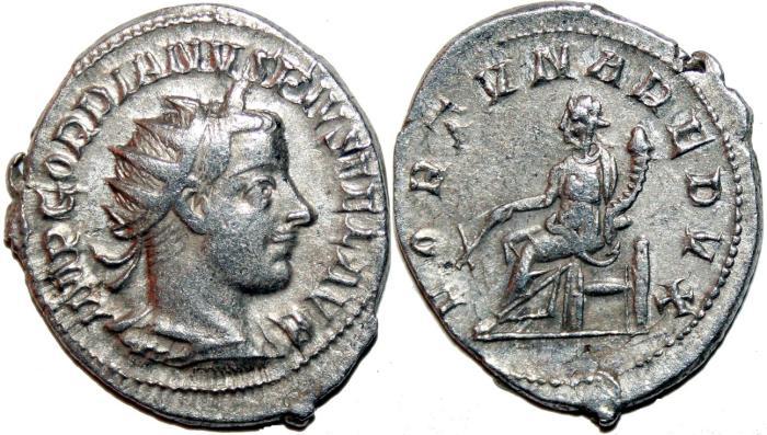 Ancient Coins - GORDIANUS III AR Antoninianus. VF+. Antioch mint. FORTVNA REDVX