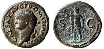 Ancient Coins - DOMITIAN (as Caesar under Vespasianus) Æ As. VF+/VF. Head to left. SC - Spes. Scarce and nice.