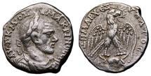 Ancient Coins - MACRINUS AR Tetradrachm. VF+. Carrhae mint. Draped bust seen from front. VERY SCARCE!