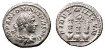 Ancient Coins - ELAGABALUS AR Denarius. VF+. Legionary Standards - FIDES MILITVM. Scarce Reverse.