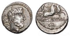Ancient Coins - L. Titurius L. f. Sabinus AR Denarius. EF/EF-. King Tatius.