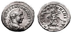 Ancient Coins - ELAGABALUS AR Denarius. VF+. VICTOR ANTONINI AVG.