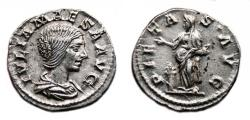 Ancient Coins - JULIA MAESA AR Denarius. EF+. PIETAS AVG. Quality Coin!