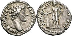 Ancient Coins - MARCUS AURELIUS AR Denarius. VF+. Genius - TR POT VIII COS II.