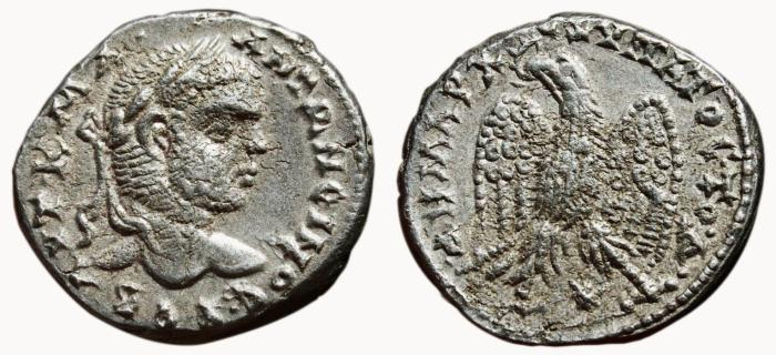 Ancient Coins - CARACALLA AR Tetradrachm. VF+. Laodikea ad Mare mint. Eagle to left - Star. Fourth Consulship.