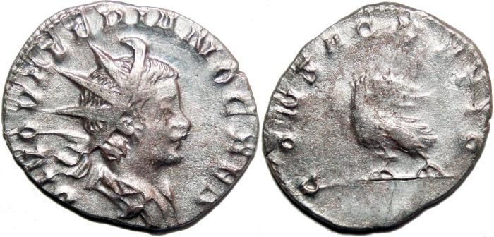 Ancient Coins - VALERIAN II Bi Antoninianus. VF+. CONSACRATIO. Scarce in this condition!