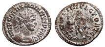 Ancient Coins - MAXIMIANUS HERCULIUS Bi Antoninianus. VF+. FULLY SILVERED. Lugdunum. HERCVLI  INVICTO AVGG.