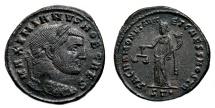 Ancient Coins - GALERIUS MAXIMIANUS AE Follis. VF+/EF-. SACRA MONETA. Ticinum mint.