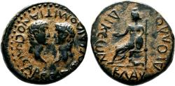 Ancient Coins - LAODICEA COMBUSTA (Lycaonia) AE21. Titus and Domitian, Caesars. EF-/VF+. Kybele.