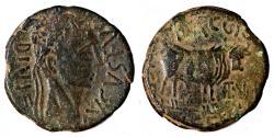 Ancient Coins - AUGUSTUS AE As. VF+/VF. Bull. Mags. Lucius Baggius and Manlius Flavius Festus.