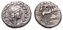 Ancient Coins - Cnaeus Gellius AR Denarius. EF-. 138 BC. Rome in wreath.