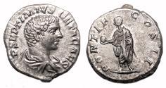 Ancient Coins - GETA AR Denarius. EF. PONTIF COS II. Bust at age 20.