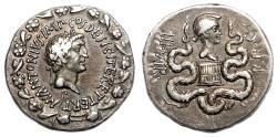 Ancient Coins - MARCUS ANTONIUS and OCTAVIA AR Cistophoric Tetradrachm. EF-/VF+. Ephesus mint. VERY RARE!