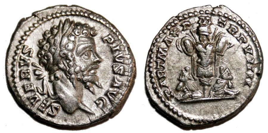 Ancient Coins - SEPTIMIUS SEVERUS AR Denarius. EF. Parthian captives and trophy.