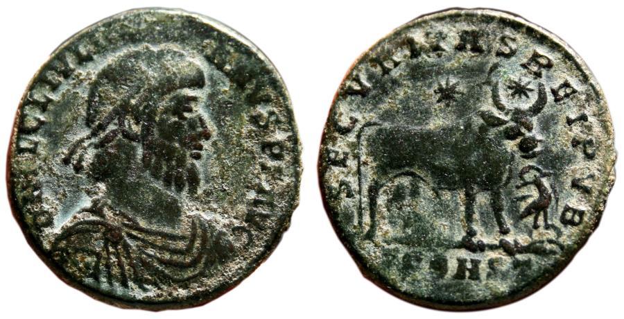 Ancient Coins - JULIAN II AE1 (Double Maiorina). VF/VF+. Arelate mint. Bull - SECVRITAS REI PVB.